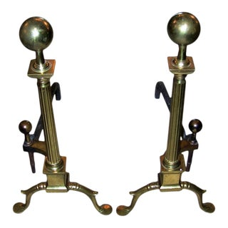 Pair of 19c Philadelphia Brass Andirons With Roman Columns and Ball Finials