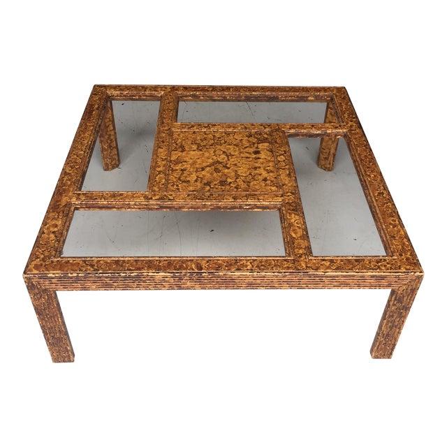 Tortoiseshell Burnt Bamboo Design Table For Sale
