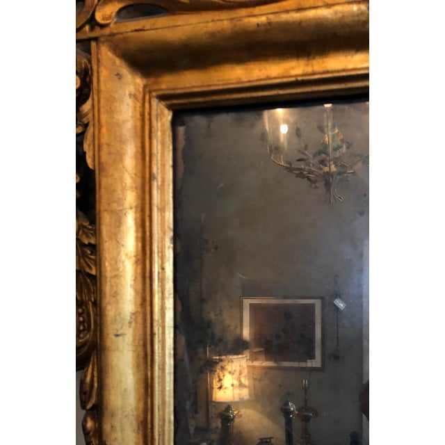 Early 19th Century Antique Neo Classical Carved Wood Italian Gilt Mirror For Sale - Image 11 of 12