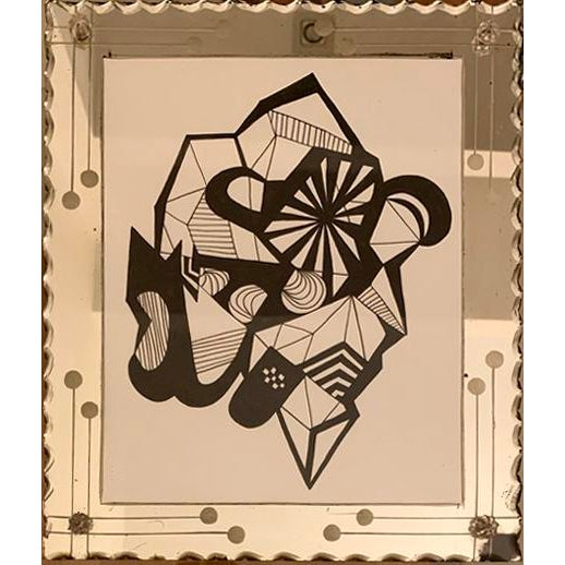 2020s Abstract Original Ink Drawing in Vintage Mirrored Art Deco Style Frame For Sale - Image 5 of 5