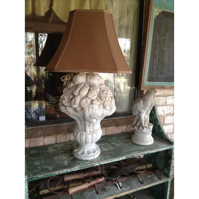 Shabby Chic or beach ready still life fruit lamp with brown shade. Faux painted to give an aged look.