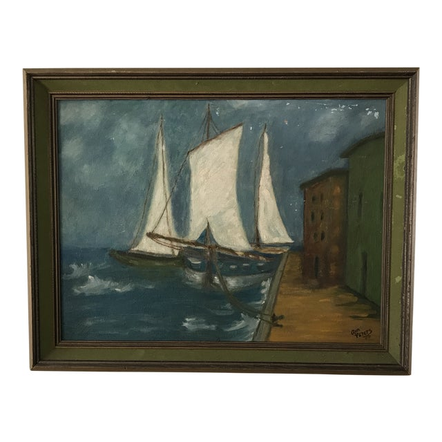 Vintage Twilight Sailboat Painting For Sale