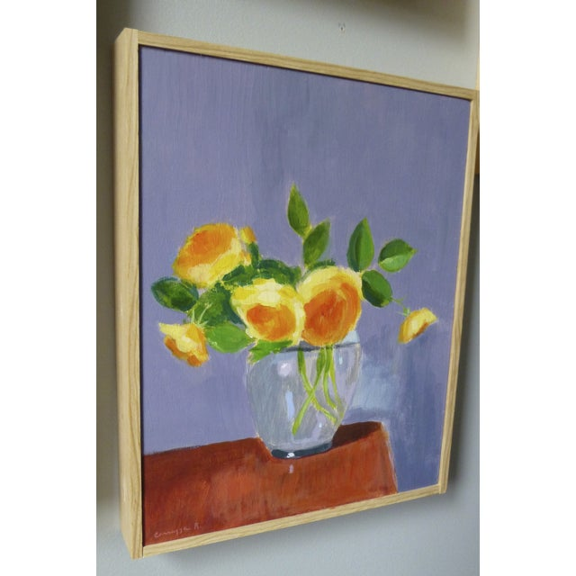 "Original Painting ""Yellow Roses on Red Table"" - Image 3 of 4"