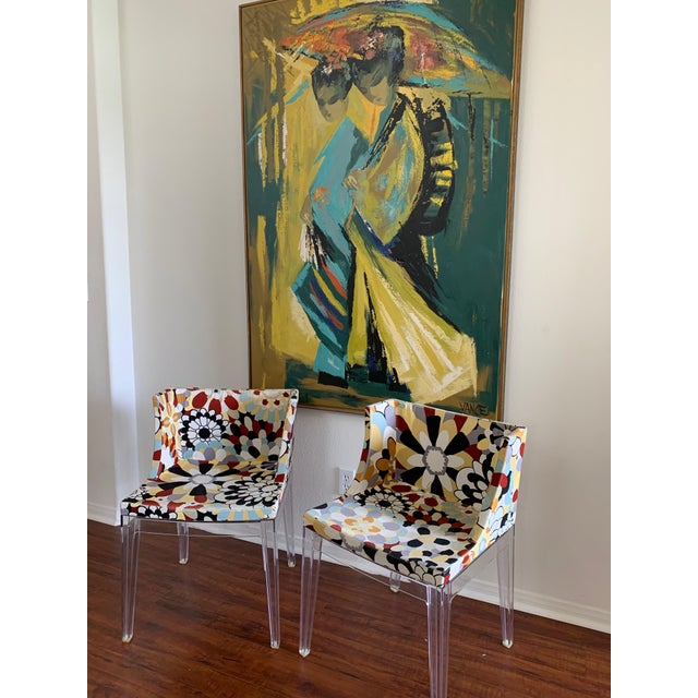Contemporary Kartell Phillipe Starck Missoni Fabric Mademoiselle Chairs - a Pair For Sale - Image 3 of 9