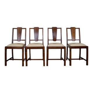 1920s Vintage Art Deco Pratts of Bradford Dining Chairs- Set of 4 For Sale