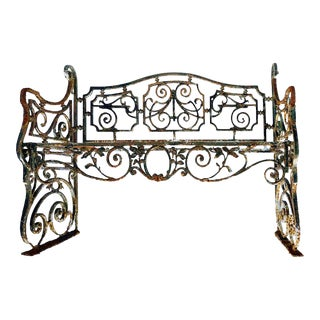 Early 20th Century Beaux Arts Style Wrought Iron Garden Bench With Distressed Finish For Sale