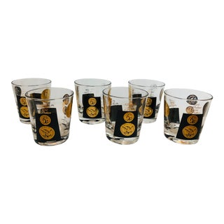 Vintage Cera Coin Lowball Glasses - Set of 6 For Sale