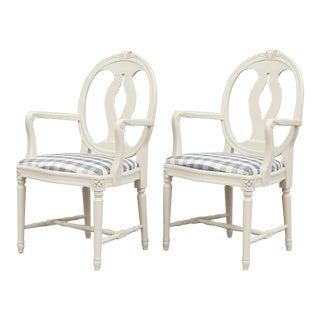 Gustavian Rose Armchairs- A Pair For Sale
