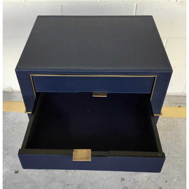 2010s Bungalow 5 Modern Navy Blue Leather and Antique Brass Finish Hunter Two Drawer Side Table For Sale - Image 5 of 6