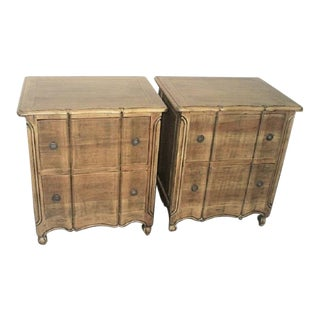 A Pair French Style Night Stands Provencal 2 Drawers Nice Rustic Finish