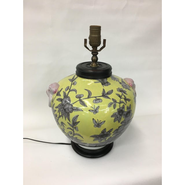 Asian Vintage Yellow Butterfly Floral Design Vase Lamp For Sale - Image 3 of 4