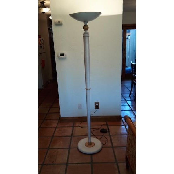 Cherry Wood Grange French Country White Floor Lamp with White Top & White Base For Sale - Image 7 of 7