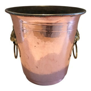 Vintage Mid-Century French Copper Champagne Bucket For Sale