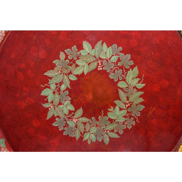 Fabulous Antique French 19th. century hand painted tole Tray. This tray is 48 inches across. It is in the most...