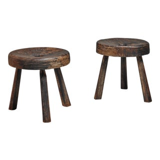 Pair of Large Brazilian Folk Art Stools, 19th Century