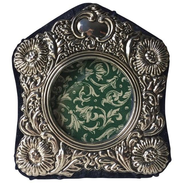 Vintage Silver Ornate Velvet Back Frame - Image 1 of 6