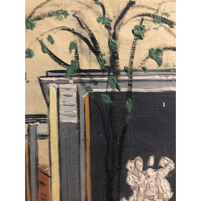 Paint Mid-Century Oil on Canvas of a Modern Classical Courtyard With Sculpture 1960s For Sale - Image 7 of 9