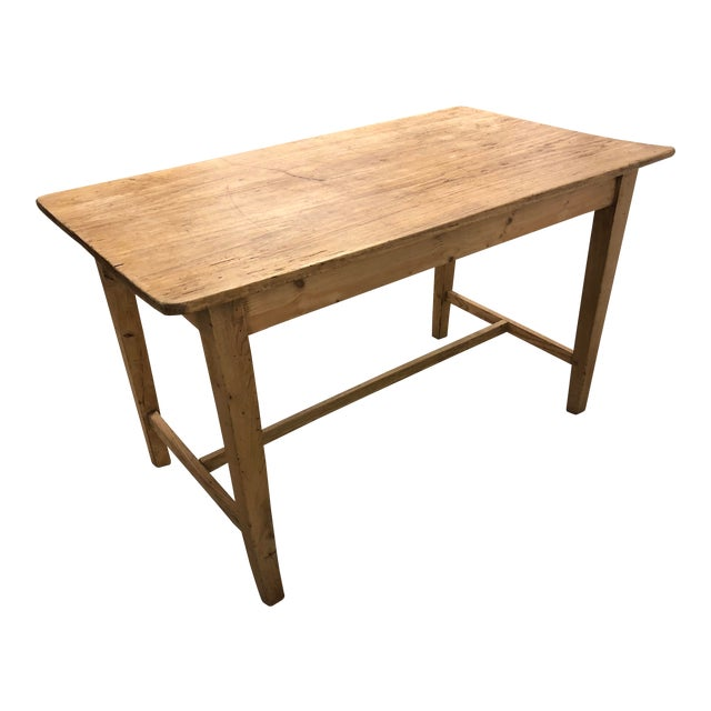 1960s Rustic Light Wood Side Table For Sale