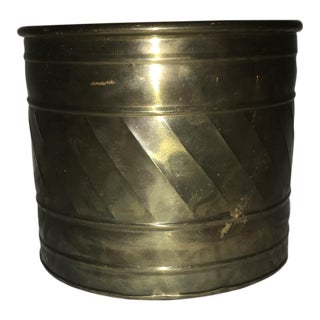 Medium Detailed Brass Planter Pot For Sale