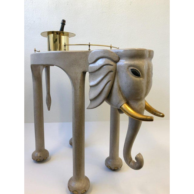 1980s Carved Wood Elephant Bar Cart by Marge Carson For Sale - Image 10 of 12