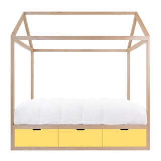 Domo Zen Twin Canopy Bed in Maple With Yellow Finish Drawers For Sale