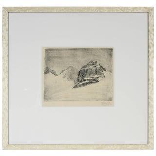 Johannes Fischer Original Vienna Secessionist Etching, Abstracted Landscape Circa 1920s For Sale