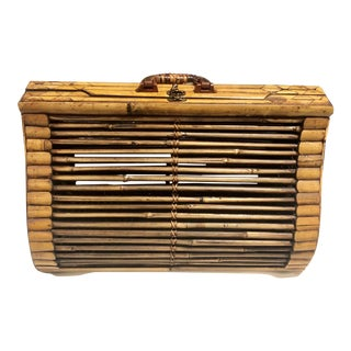 1980s Chippendale Palm Beach Island Style Tortoise Bamboo Rattan Bentwood Luggage - Small For Sale