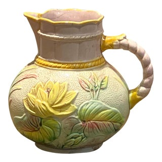 19th Century English Majolica Pitcher With Lotus For Sale