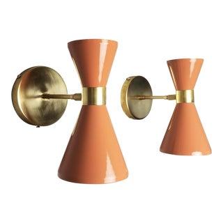 "Italian Modern Brass & Blush Enamel ""Campana"" Wall Sconces - A Pair"
