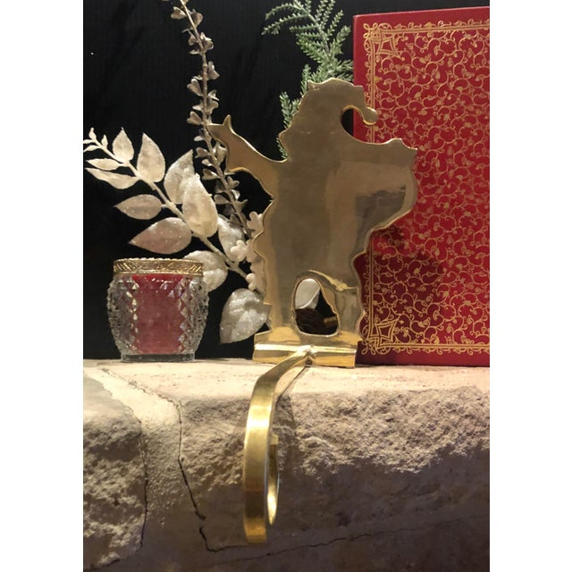Late 20th Century Vintage Brass Stocking Hooks Santa, Reindeer and Candle Hangers - Set of 3 For Sale - Image 5 of 12