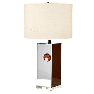 1970s Mirrored Style Square Table Lamp For Sale