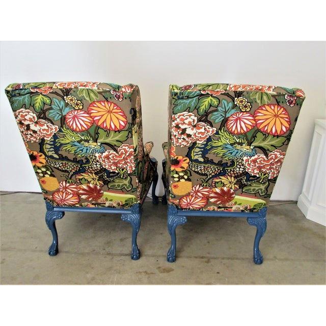 Pair of English Lacquered Georgian Style Gainsborough Armchairs For Sale - Image 4 of 11