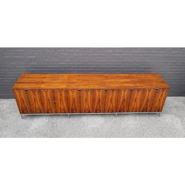 Custom Bookmatched Brazilian Rosewood Florence Knoll Media Cabinet For Sale - Image 9 of 13