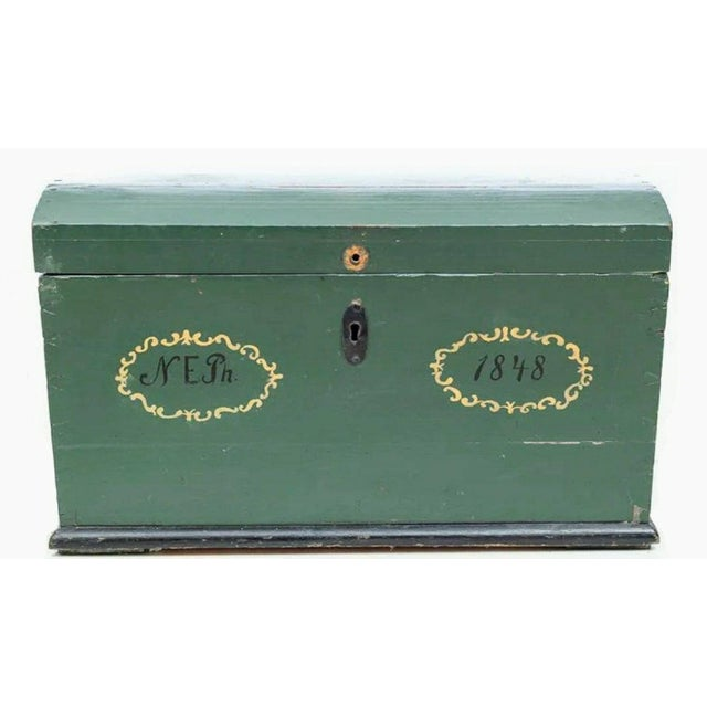 A unique and subtly beautiful, one-of-a-kind, completely original mid 19th century handcrafted wedding trunk from Sweden....