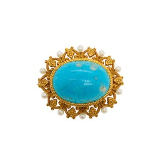 Early Krementz 14k Gold Turquoise Cultured Seed Pearl Watch Pin Brooch For Sale