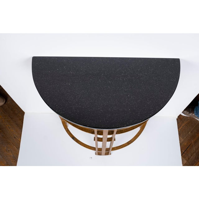 Black 20th Century Art Deco Gilt Iron and Granite Demi Lune Consoles - a Pair For Sale - Image 8 of 10