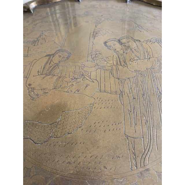 Asian Midcentury Asian Chinoiserie Brass Etched Tray For Sale - Image 3 of 13