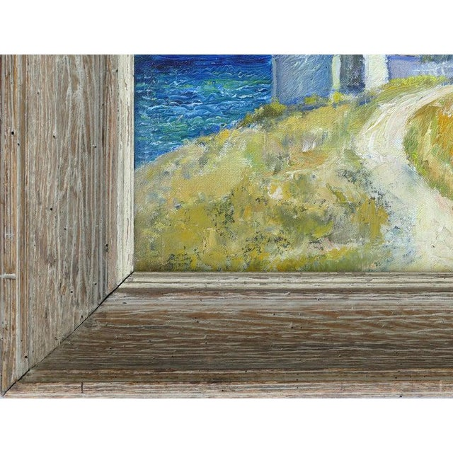 Blue Contemporary Samuel Brecher Oil Painting of Pemaquid Lighthouse E Boothbay, Me For Sale - Image 8 of 10