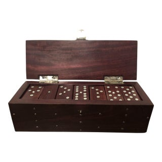 Superb Antique Handmade Wooden Dominoes Set For Sale