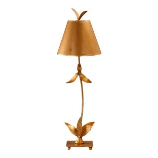 Red Bell Gold Buffet Table Lamp For Sale