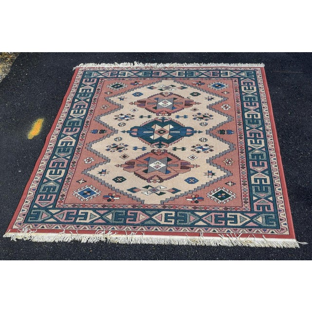 Aztec Style Rug - 5′6″ × 7′10″ For Sale - Image 9 of 9