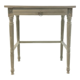 Currey & Co. French Country Style Lysanne Gray Wood End Table For Sale
