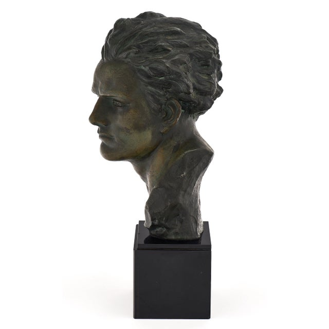 Art Deco Spelter Bust of Jean-Mermoz Sculpture For Sale In Austin - Image 6 of 10