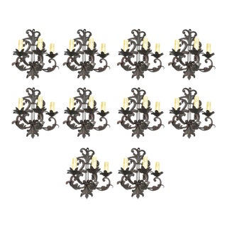 French 1940s Wrought Iron Sconces - Set of 10 For Sale