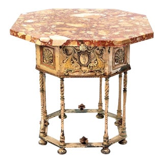 Rustic European Painted and Parcel Gilt Metal Base With Marble Top Table For Sale
