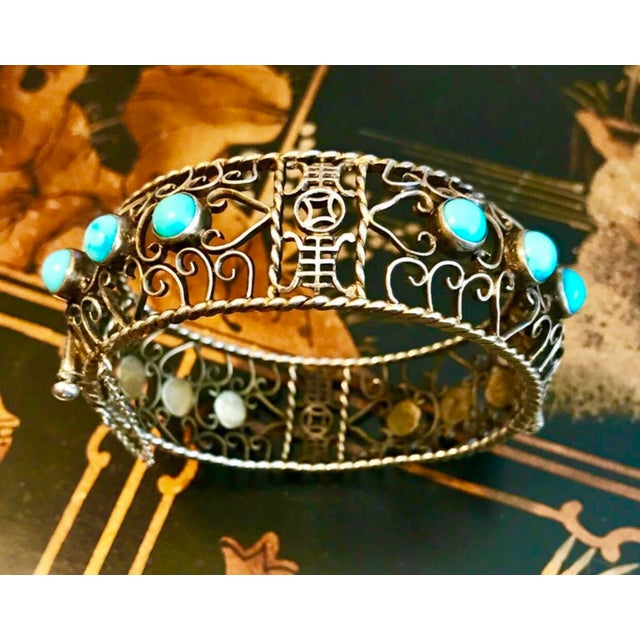 Asian 1940 Chinese Gold, Sterling and Turquoise Bangle For Sale - Image 3 of 8