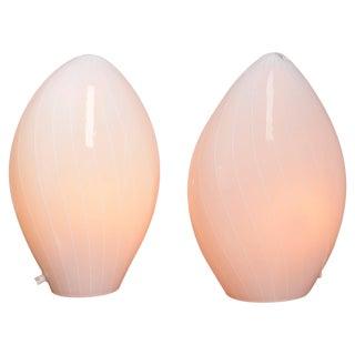 Pair of Italian Modern Vetri Murano Hand Blown Table Lamps For Sale
