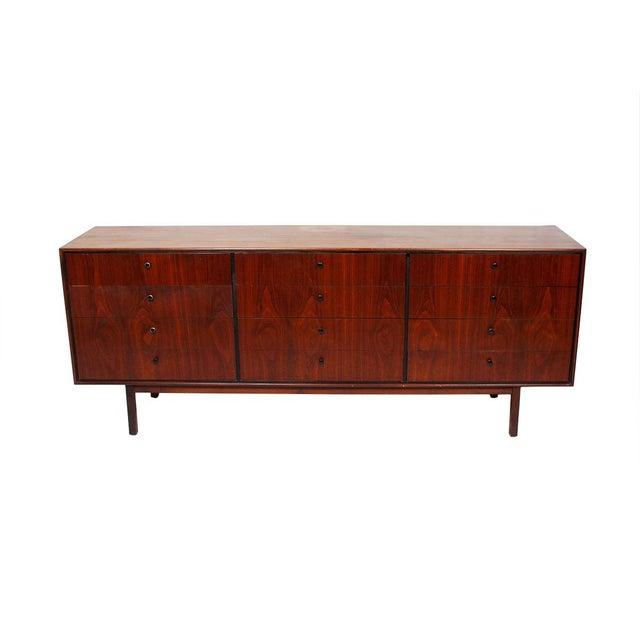 Mid Century Walnut 12-Drawer Dresser / Credenza - Image 3 of 9