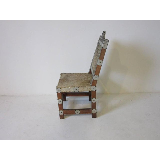 Primitive Folk Art African Royal or Prince Aluminum and Metal Studded Animal Skin Chair For Sale - Image 3 of 6