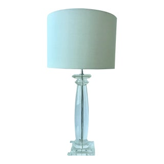 Karl Springer Lucite and Chrome Greek Column Table Lamp For Sale